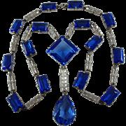 Austria Sterling 1920's-30's Cobalt Blue Faceted Glass Necklace Signed by Maker
