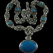 Vintage Southwest Howlite Silver Pendant Necklace