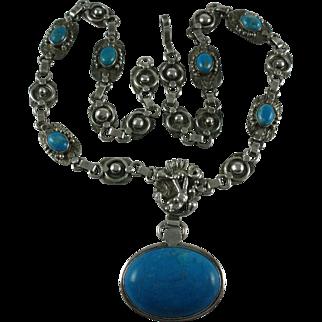 Silver Southwest Blue Howlite Vintage Pendant Necklace