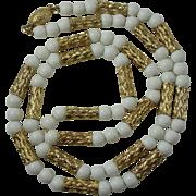 Vintage White Glass Goldtone Bead Necklace