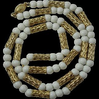 "Elegant Milkglass & Woven Goldtone Bead Vintage 25"" Necklace"