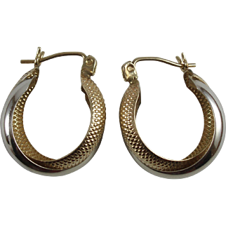 10k White and Yellow Gold Double Hoop Pierced Earrings 2.15g