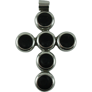Vintage Onyx Sterling 925 Cross Pendant