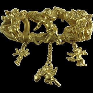 Goldtone Cherub Cupid Vintage Brooch