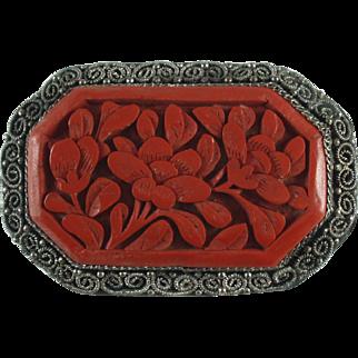 Antique Chinese Cinnabar Brooch