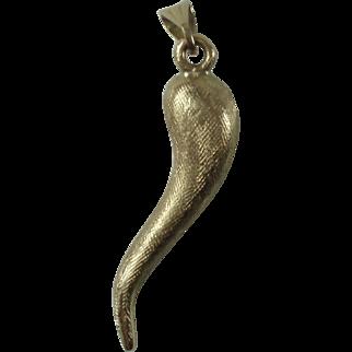 10K Solid Gold Italian Horn Pendant