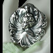 Art Nouveau Silver Repousse Brooch Edwardian Lady