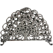 Antique 800 Silver Letter Holder Flower Basket Motif Signed HA