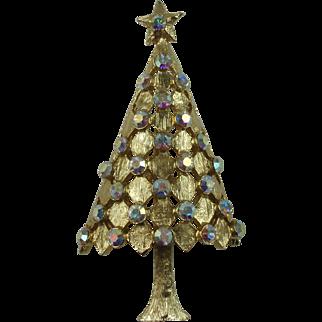 Vintage Christmas Tree Brooch Aurora Borealis Rhinestones