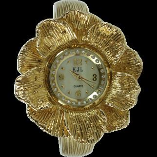 KJL Kenneth Jay Lane Dogwood Flower Clamper Watch