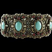1950's Decadent Ornate Wide Victorian Style Bracelet