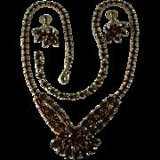 Sherman Rootbeer Brown Rhinestone Necklace and Earrings