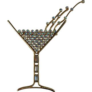 Fun Champagne Glass Brooch Signed Butler (FAC)