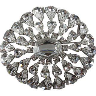 Large Sparkly Clear Rhinestone Domed Vintage Brooch