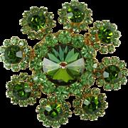 Lime Green Rhinestone Flower Vintage Brooch