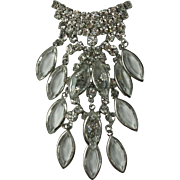Elegant Dangly Clear Rhinestone Vintage Brooch