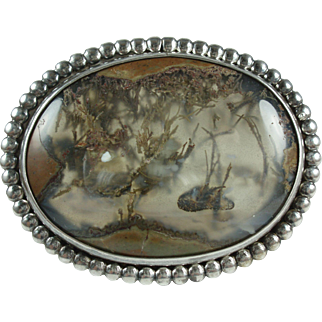 Large Moss Agate Sterling Silver Vintage Brooch