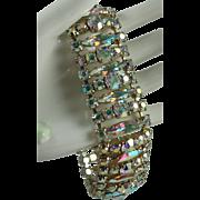 Vintage Sherman Aurora Borealis Rhinestone Bracelet