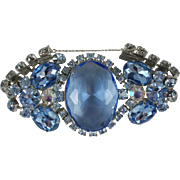 Decadent Large Blue Rhinestone Vintage Bracelet