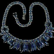 Stunning Sherman Shades of Blue Rhinestone Vintage Necklace