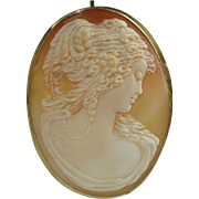 18k Gold Carnelian Shell Cameo Brooch/Pendant Signed