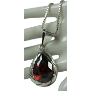 Sterling Pyrope Garnet Pendant 30 Inch Box chain Necklace