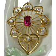 Gold-plated Synthetic Ruby Hearts Vintage Brooch