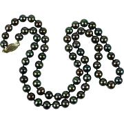 Peacock Freshwater Pearl Vintage Necklace 14K Gold Clasp