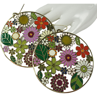 Large Groovy Flowers Enamelled Vintage Earrings