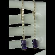 10K Gold Faceted Amethyst Rondelle Threader Earrings