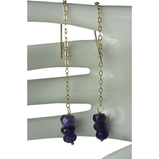 10K Gold Faceted Amethyst Rondelle Threader Earrings