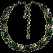Beautiful 1960's Lisner Emerald Green Rhinestone Necklace