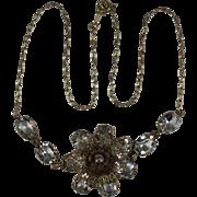 Gold Filled Filigree Flower Vintage Necklace