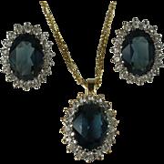 Nina Ricci Sapphire Blue Rhinestone Necklace and Earrings Set
