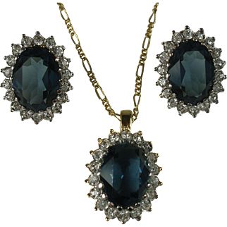 Nina Ricci Sapphire Blue Rhinestone Necklace and Earrings Set