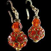 Groovy Upcycled Orange Rhinestone Drop Earrings