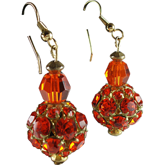 Groovy Upcycled Orange Rhinestone Drop Earrings