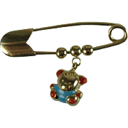 18k Gold Bib Pin-Teddy Bear Charm