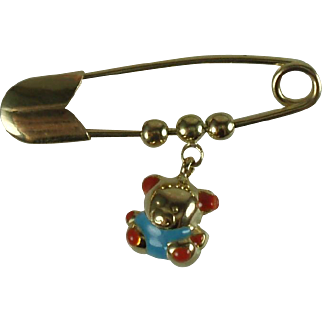 18k Gold Italian Bib Pin with Teddy Bear Charm
