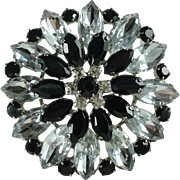 Pretty Tiered Black and Clear Rhinestone Flower Vintage Brooch