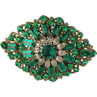 Spectacular 1930's Art Deco Czech Large Green Glass Brooch