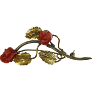 Red Coral Roses Gold Over 800 Silver Brooch