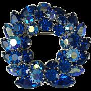 Vintage Sherman Sapphire Blue AB Rhinestone Brooch