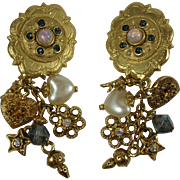 1980's Fun Dangly Angel Theme Charms Clip-on Earrings