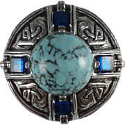 Miracle Celtic Vintage Brooch Faux Turquoise