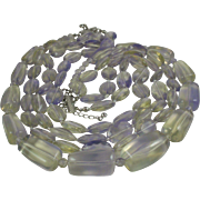Lucite 4 Strand Lavender and Lemon Vintage Necklace