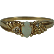 10K Yellow Gold Opal Diamond Ring Size 7.75