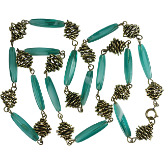 Teal Glass Bead Vintage Necklace