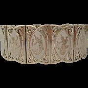 Sterling Siam 12 Panel Vintage White Enamelled Bracelet
