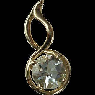 14K Gold Genuine Aquamarine Gemstone Pendant